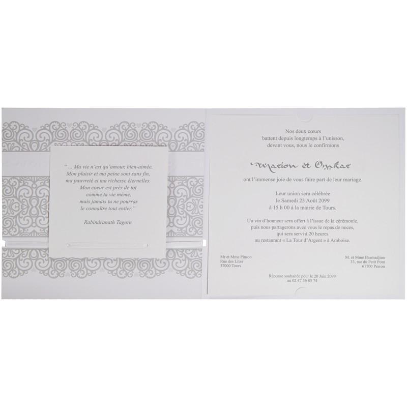 faire part mariage oriental blanc coeur argent j3102 - Fair Part Mariage Oriental